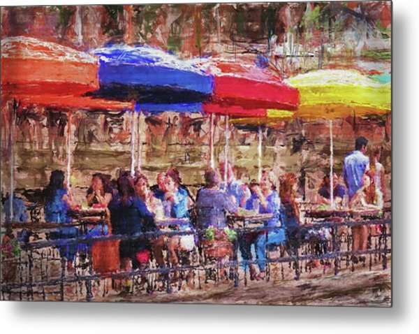 Patio At The Riverwalk Metal Print