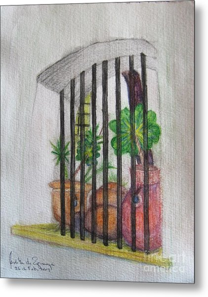 Patio Window - Gifted Metal Print by Judith Espinoza