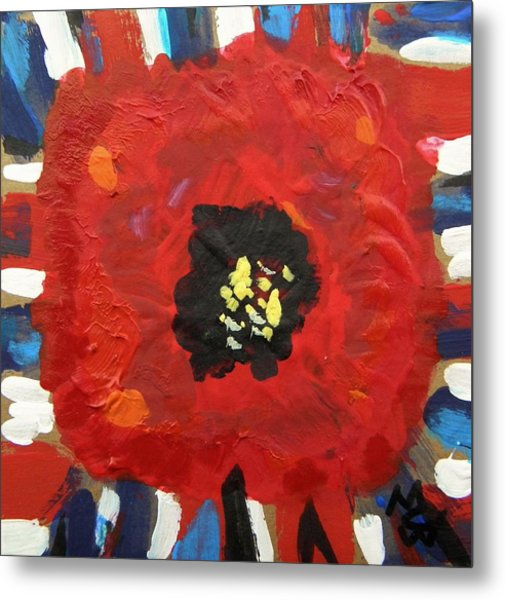 Patriotic Poppy Metal Print