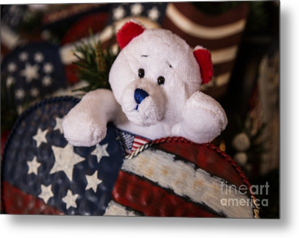 Patriotic Teddy Bear Metal Print