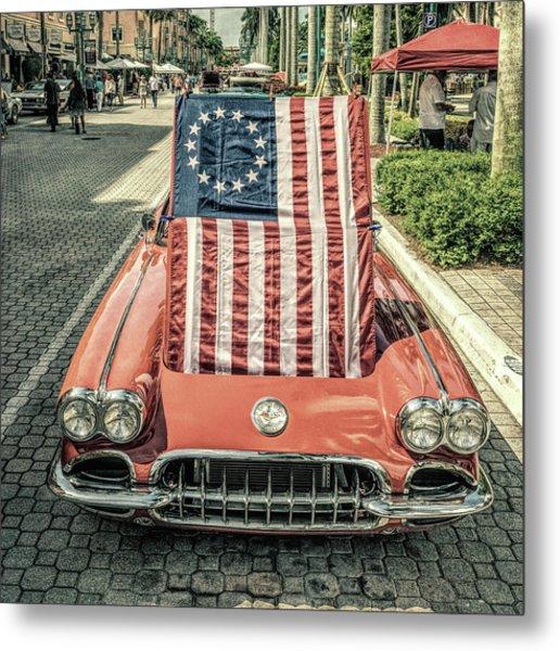 Patriotic Vette Metal Print