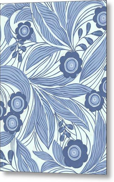 Pattern With Blue Leaves, Flowers Metal Print
