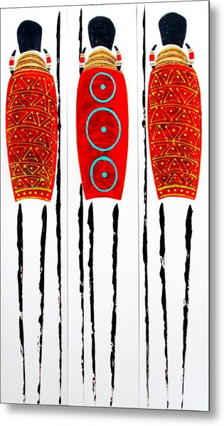 Patterned Masai Triptych Metal Print