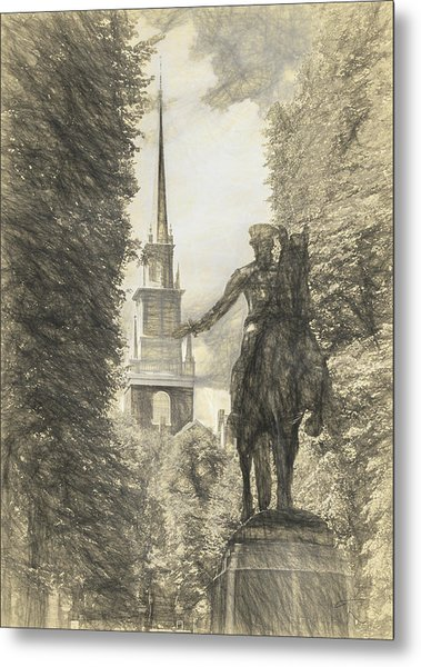 Paul Revere Rides Sketch Metal Print