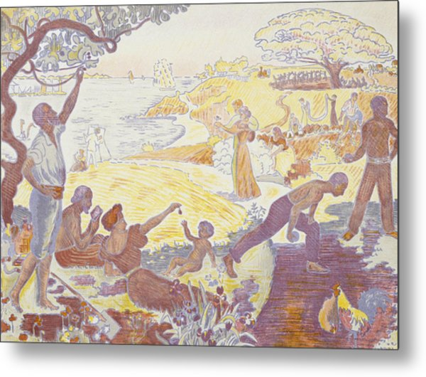 Paul Signac - In The Time Of Harmony - The Joy Of Life - Sunday By The Sea Metal Print