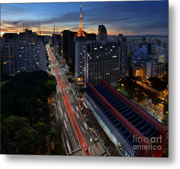 Paulista Avenue And Masp At Dusk - Sao Paulo - Brazil Metal Print