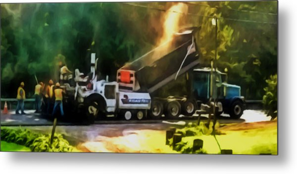 Pavement Machine Laying Fresh Asphalt  On Top Of The Gravel Base During Highway Construction Metal Print