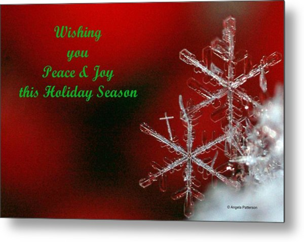 Peace And Joy Christmas Card Two Metal Print by Angela Patterson