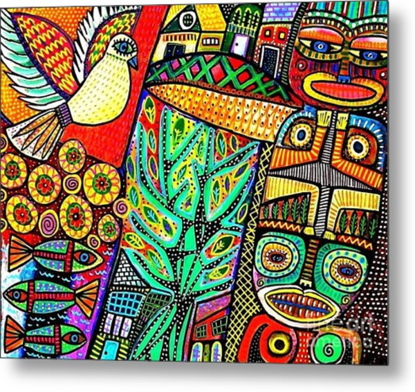 Peace Dove In Totem Forest Metal Print