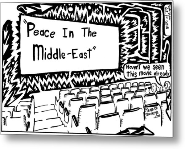 Peace In The Middle-east Rerun Maze Cartoon Metal Print