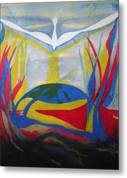 Peace Rising From Chaos Metal Print by CB Woodling