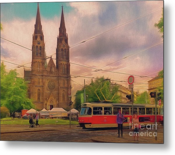 Peace Square Prague Metal Print