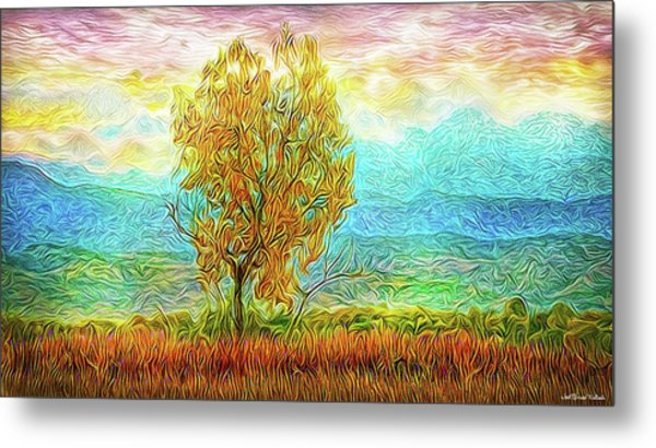 Peace Tree Sunset Metal Print