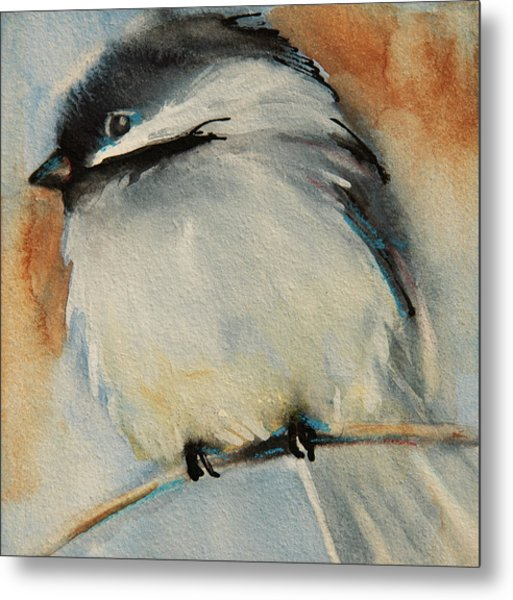 Peaceful Chickadee Metal Print