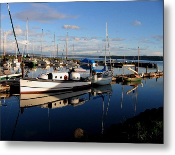 Peaceful Morning At The Harbor Metal Print
