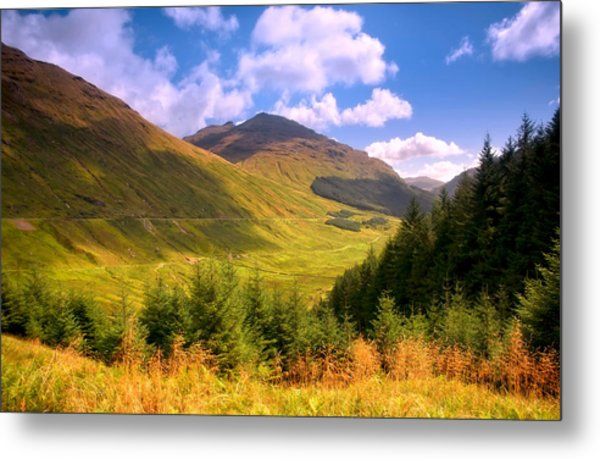 Peaceful Sunny Day In Mountains. Rest And Be Thankful. Scotland Metal Print