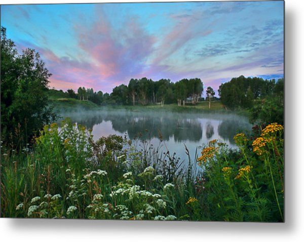 Peaceful Sunrise At Lake. Altai Metal Print