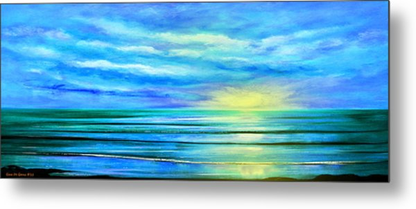 Peacefully Blue - Panoramic Sunset Metal Print