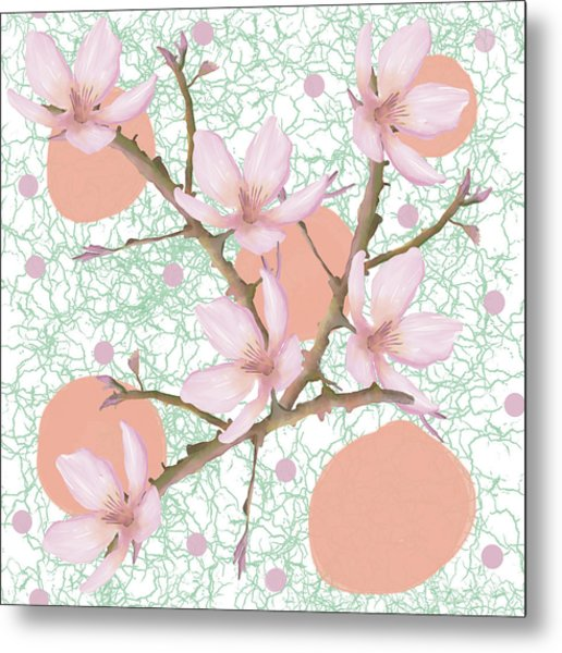 Peach Blossom Pattern Metal Print