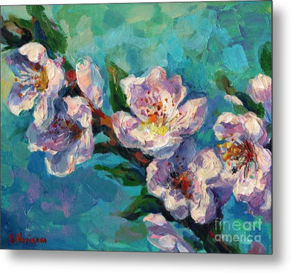 Peach Blossoms Flowers Painting Metal Print