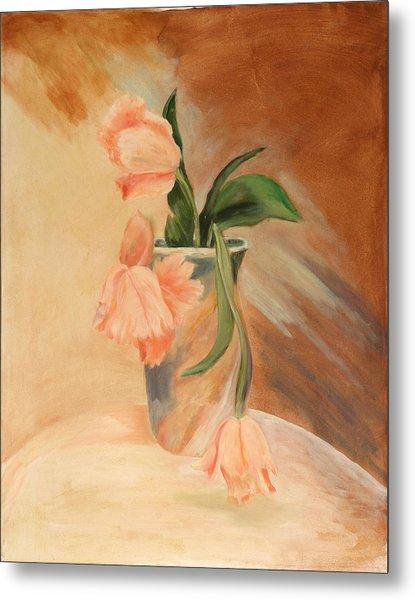 Peach Tulips Metal Print by Betty Stevens