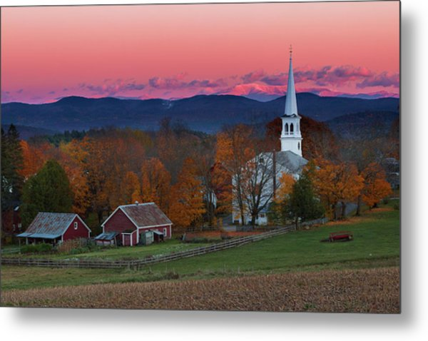 Peacham Village Fall Evening Metal Print