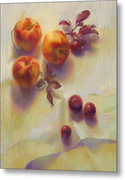 Peaches And Cherries Metal Print by Cathy Locke