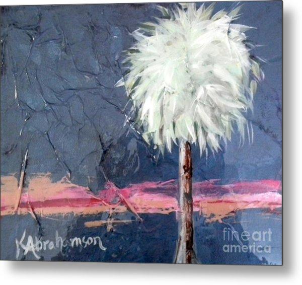 Peachy Horizons Palm Tree Metal Print
