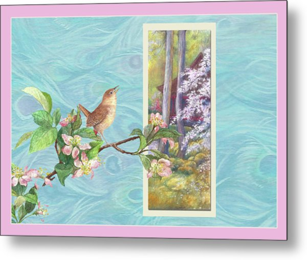 Peacock And Cherry Blossom With Wren Metal Print