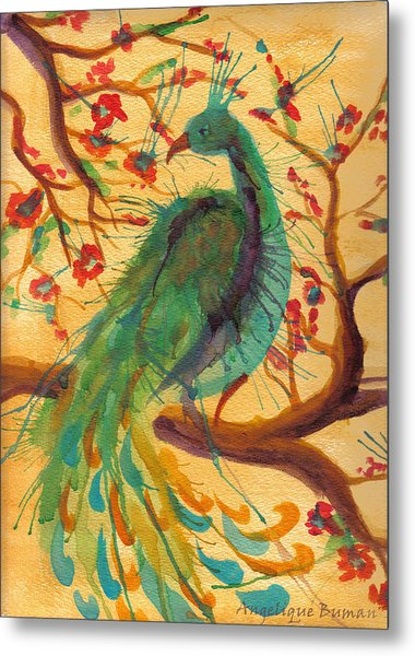Metal Print featuring the painting Peacock C'hi by Angelique Bowman