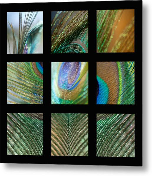 Peacock Feather Mosaic Metal Print