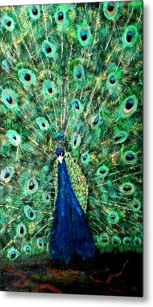 Peacock Metal Print by Mikki Alhart