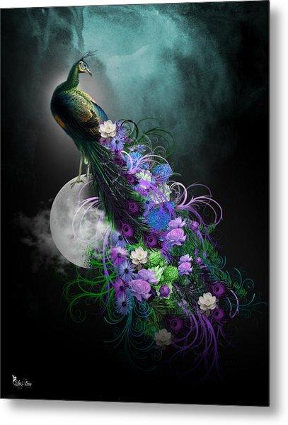 Peacock Of  Flowers Metal Print