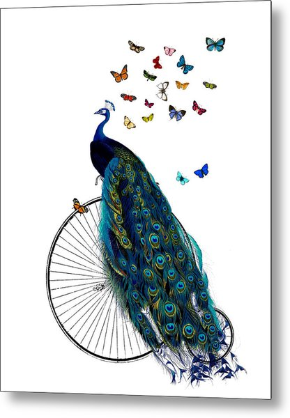 Peacock On A Bicycle With Butterflies Metal Print