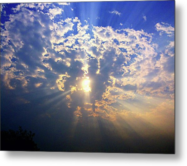 Peaking Behind The Clouds Metal Print