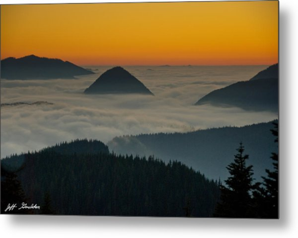 Peaks Above The Fog At Sunset Metal Print