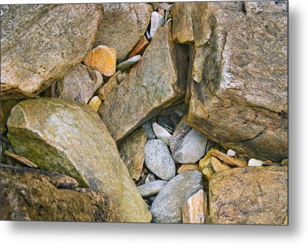Peaks Island Rock Abstract Photo Metal Print by Peter J Sucy