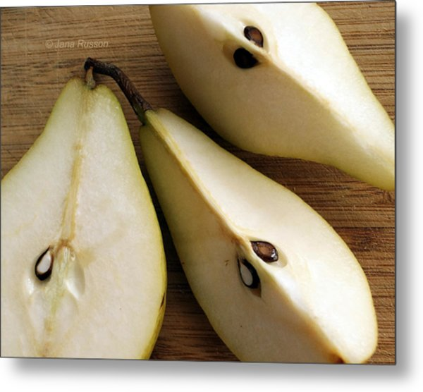 Pear Cut In Three Metal Print