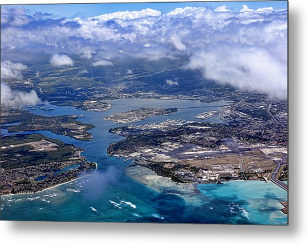 Pearl Harbor Aerial View Metal Print