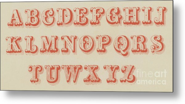 Pearl Letter Red Font Metal Print
