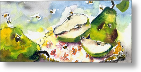 Pears And Bees  Metal Print by Ginette Callaway