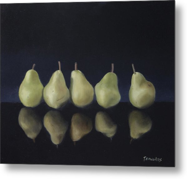 Pears In Black Metal Print