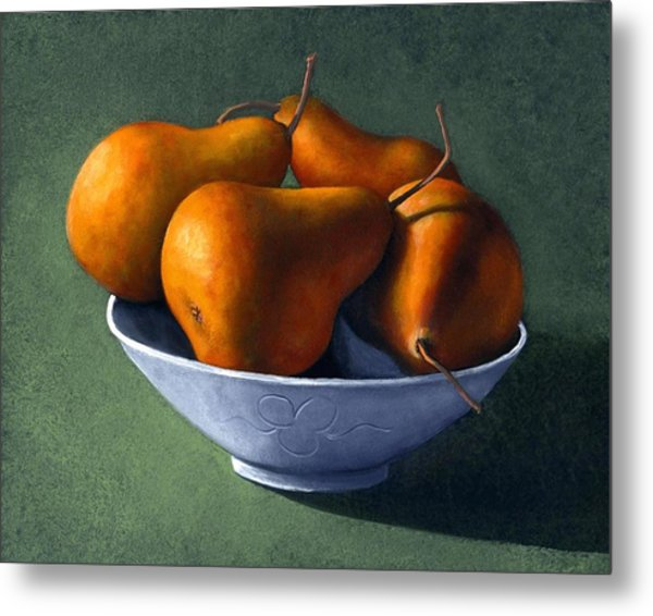 Pears In Blue Bowl Metal Print