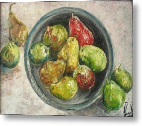Pears In Bowl Metal Print by Carol P Kingsley