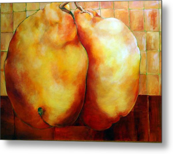 Pears In Love Metal Print