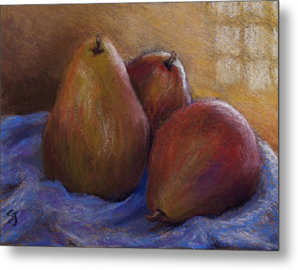 Pears In Natural Light Metal Print