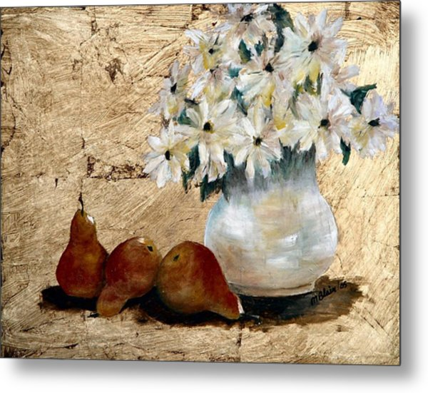 Pears On Gold Metal Print by Merle Blair
