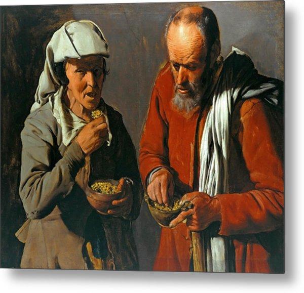 Peasant Couple Eating Metal Print