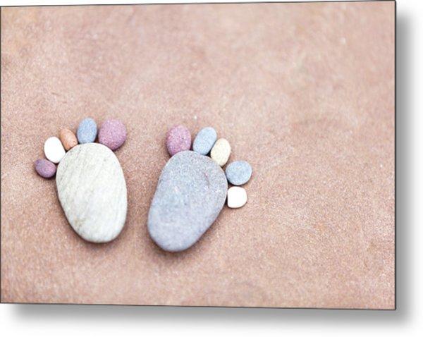 Pebble Feet Metal Print