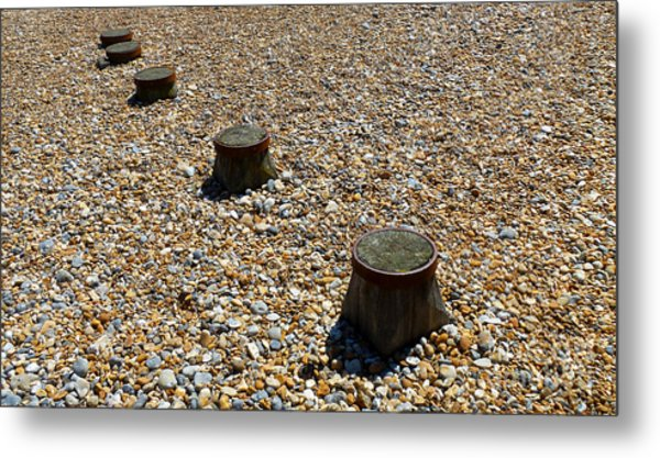 Pebbles And Wood Metal Print